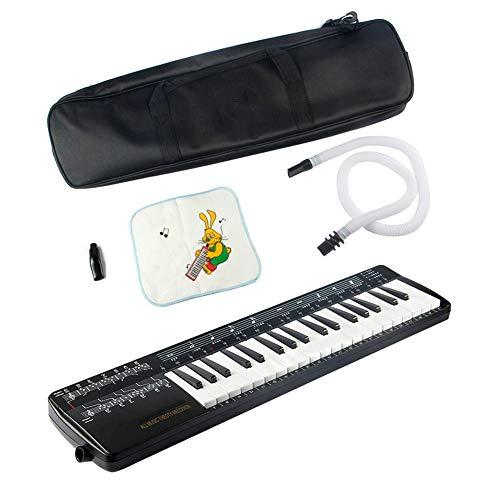 QING.MUSIC Wind instrument Melodica 37-Tasten-Klaviertastatur mit langem Kunststoffrohr, Kurzer Mund und Musikliebhaber Tragetasche für Anfänger Kinder Schwarz (Mundharmonika-tragetasche)