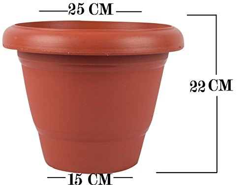 First Smart Deal Plastic Round Pot (10-inch, Brown, Pack of 4)