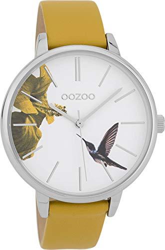 Oozoo Damenuhr mit Lederband 42 MM Vogel Blume/Senfgelb C9761