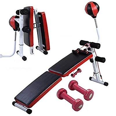 COSTWAY Sit Up Bench, Folding AB Abdominal Crunch Exercise Board, Weight Bench for Home Gym, with Boxing Ball, a Pair of Dumbbell and Train Ropes by COSTWAY