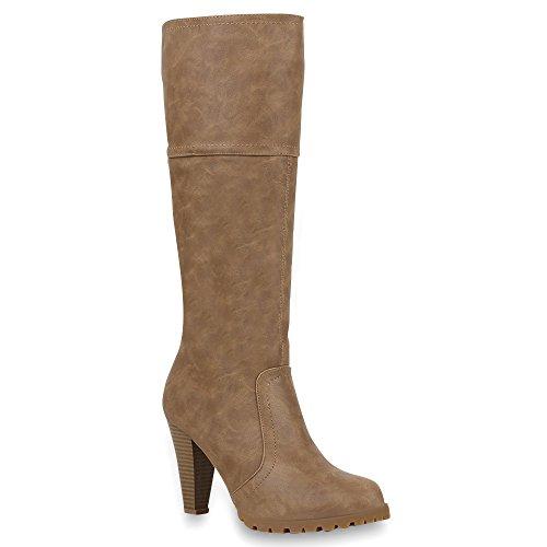 Klassische Damen Stiefel Hochschaft High Heels Gr. 36-41 Schuhe 45771 Khaki 39 | (Knie Hoch Stiefel Rabatt)