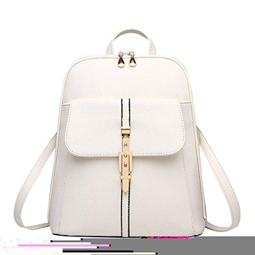 Sentao Damen Vintage Backpack Wanderrucksack Schultertasche PU-Leder Rucksack Für Camping Reise Beige
