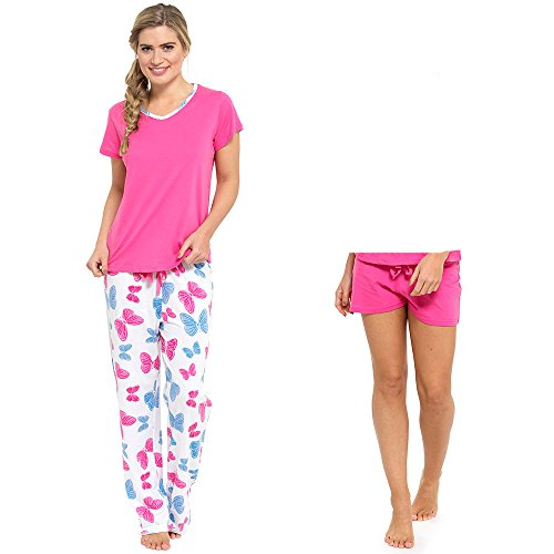 Ladies 2 In 1 Pyjama ShortS Or Long Set 3 Piece With Lounge sock - 41b k0lWePL - Ladies 2 In 1 Pyjama ShortS Or Long Set 3 Piece With Lounge sock