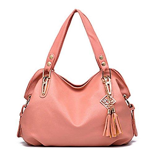 Sacchetto Di Spalla Di Cuoio Dell'unità Di Elaborazione Della Nappa Casuale Di Modo Delle Donne Di CHT,Blushing Pink Blushing Pink