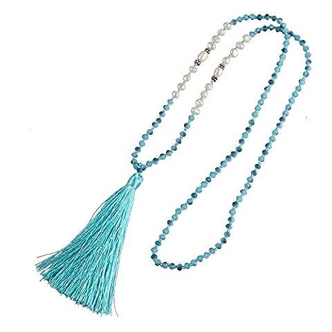 KELITCH Bohemian Natural Freshwater Pearl Crystal Beaded Tassel Necklace Long