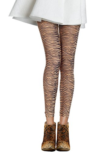 Samfe Damen Strumpfhose Orange Tiger -