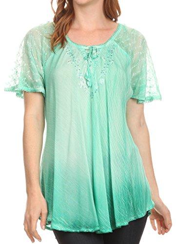 Sakkas Vilma lange Bluse mit bestickter Spitze Flgelrmel und Korsett-Gehege, Aqua, Einheitgre (Aqua-spitze Shirt)