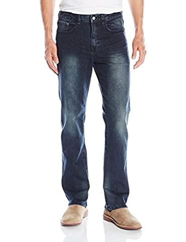 IZOD Men's Comfort Stretch Relaxed Fit Jean, Iron Blue, 34x30