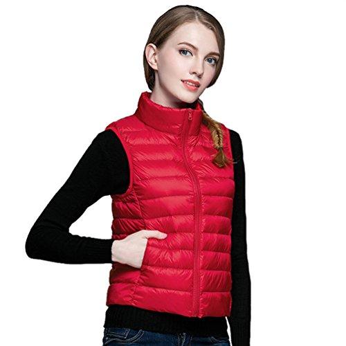 ZKOO Damen Steppweste Stehkragen Daunenweste Ultra Leicht Ärmellose Daunenjacke Weste Damenwesten Herbst und Winter Warm Rot