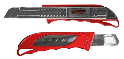Ecobra 770535 Cutter Premium mit 2 Klingen, 18 mm, metallicrot