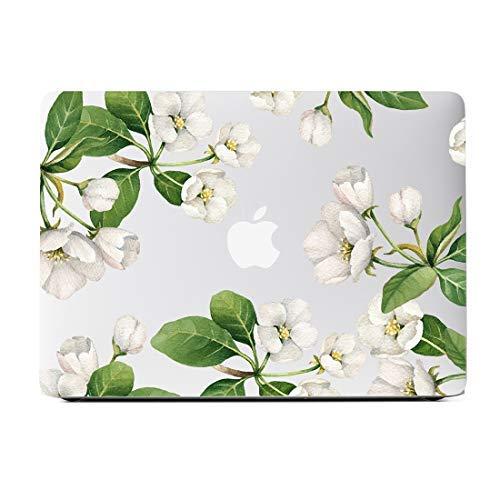 White Floral Clear Case für MacBook Pro 13 Zoll Modell A1502/A1425 (Retina) Matte Durchsichtig Hard Case Matte White Modell