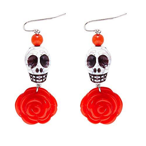 Kostüm Bond Thema - PARTY DISCOUNT Ohrringe mit weißem Totenkopf und roter Rose