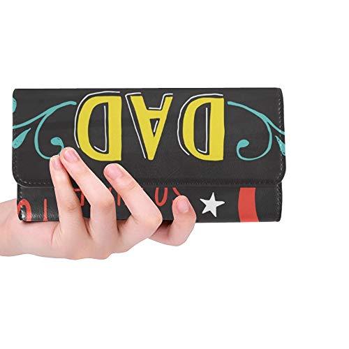 Einzigartige benutzerdefinierte handgezeichnete Typografie Poster Papa Sie Frauen Trifold Wallet Lange Geldbörse Kreditkarteninhaber Fall Handtasche