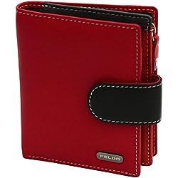 Cartera para Mujer - con Bloqueo de transmisiones RFID y 10 Ranuras para Tarjetas - Cuero auténtico Muy Suave - Rojo y Negro