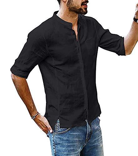 Onsoyours Leinenhemd Herren Regular Fit Button-down Sommerhemd Langarm & Kurzarm Herren Hemd Shirt Freizeithemd Herren C Schwarz Medium - Herren Arbeitshemd Aus Denim