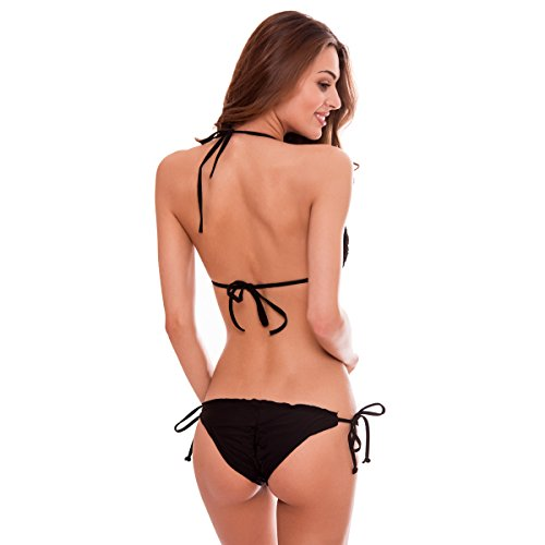 RELLECIGA Damen Bademode Triangel Extra Push-up Bikini 3D-Effekt Handmade Blumen MARIANNE Schwarz