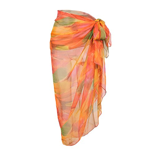 CHIC DIARY Women Chiffon Pareo Beach Wrap Sarong Swimsuit Scarf Cover up for Holiday