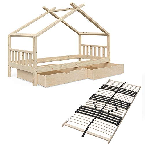 Vicco Kinderbett Hausbett Design 90x200cm Natur unbehandelt Kinder Bett Holz Haus Schlafen Hausbett Spielbett Inkl. 7 Zonen Premium Lattenrost (Bettgestell, Schubladen & Lattenrost)