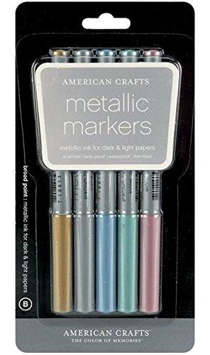 Metallic Markers Broad Point 5/Pkg-Gold, Silver, Blue, Teal & Violet - American Crafts Metallic Marker