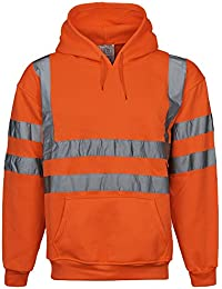 8d520a3874ac6e Overdose® Hi Viz Executive Sweatshirt High Visibility Work Hooded Mens Hoody  Tape Safety Security Work