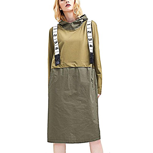 YANXH Kleid Damen Long Sleeve Printed Hooded Tops Stitching Shirt , green , One Size(BUST 114cm) (Printed Tee Spandex Long Sleeve)