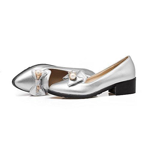 VogueZone009 Damen Ziehen Auf Pu Leder Spitz Zehe Mittler Absatz Rein Pumps Schuhe Silber