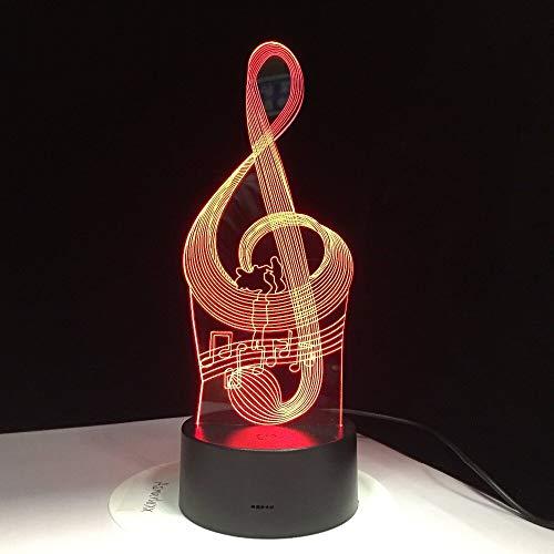 jiushixw 3D Acryl Nachtlicht mit Fernbedienung Farbwechsel Tischlampe Musik Symbol Haftnotizen Kinderspielzeug Flash Party Mokka Tischlampe