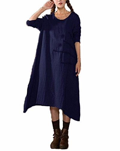 ZANZEA Damen Vintage V-Ausschnitt Langarm Unregelmäßig Wasserball Boho Lose Maxi Kleid Dunkelblau2
