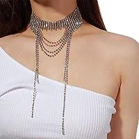 Gereton Collar de Moda Collar para Mujer - Borla Rhinestone Collar Adorno de Fiesta de Boda