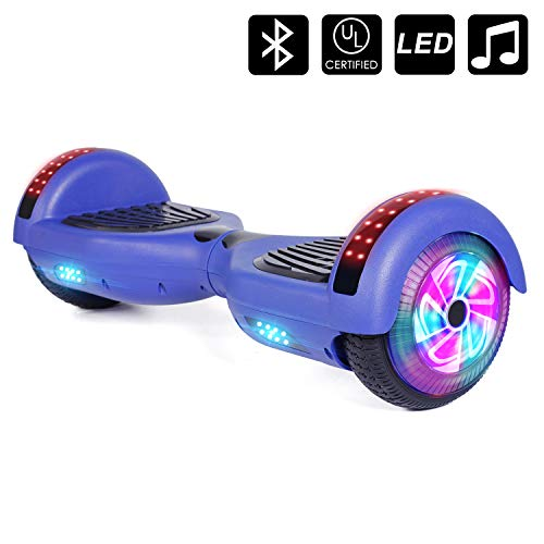 Sumwell 6.5\' Hoverboard Bluetooth Speaker und led, Self Balancing Electric Scooter für Kinder, Space Scooter, Dual 300W Motor, Free Carry Bag, UL2272 Certified (Blau)