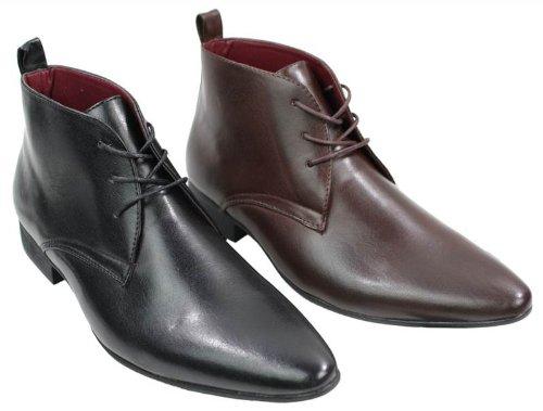 873b60c2e539b Elong Bottines Homme Simili Cuir Noir Marron Design Italien Chic Chelsea  avec Lacets