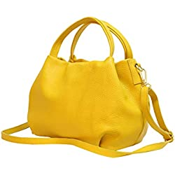 Ambra Moda bolsa de mano, bolsa de hombro para mujer de piel GL023 (Amarillo)