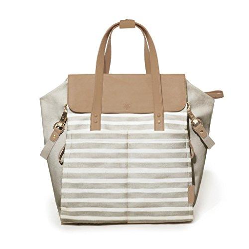 Skip Hop 200501Highline Convertible Diaper Backpack Oyster/Stripe–Mochila para pañales, color beige/rayas/multicolor