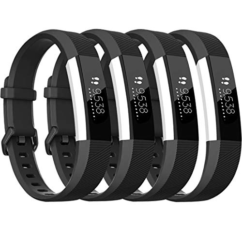 Tobfit für Fitbit Alta HR Armband, Verstellbare Ersatz Weich Sport Armband für Fitbit Alta HR und Fitbit Alta (Keine Uhr) (4-Pack Schwarz+Schwarz+Schwarz+Schwarz, S)