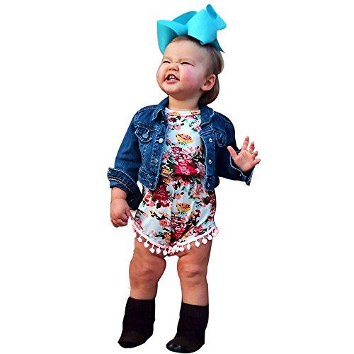 Babykleidung Honestyi Neugeborenes Kleinkind Baby Mädchen Floral Bodysuit Overall Sunsuit Kleidung Set Mädchen Blumendruck Haberdash Kopfschmuck Set (Grün,100)