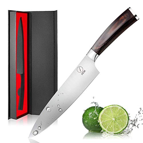 DEIK Cuchillo Chef, Cuchillo de Cocina de 20cm de Acero Inoxidable Importado 1.4116, Balanza de Grado Profesional y Súper Afilado con Mango Ergonómico de Madera con Clase