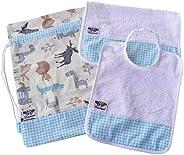 SET ASILO SCUOLA bambino 3 PEZZI (savana turchese): sacca, bavaglio, asciugamano