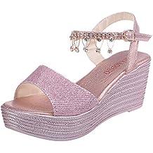 Sandalias para Mujer Verano 2019 Plataforma Cuña PAOLIAN Zapatos Fiesta Tacón Alto Vestir Elegantes Boda Playa