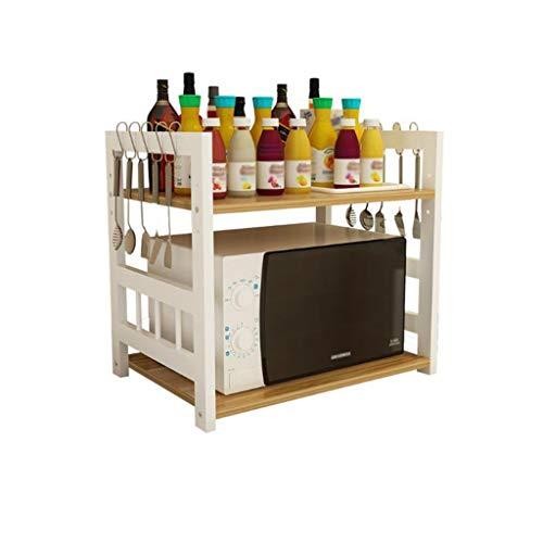 FMEZC Multifunktionales Küchenregal 2-stufiger Backofen Mikrowellen-Rost Verstellbarer bodenmontierter Gewürzregal-Flaschenhalter Weiß + Nussbaum hell (50,55,60 cm) (Größe: 60 cm)