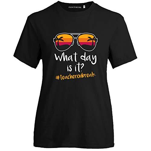 Queenromen Damen Lehrertag Teachers' Day Lehrer T-Shirt Sunflower Sonnenblume Graduation Gift Teacher Award Sommer Tops(XL Blanc)