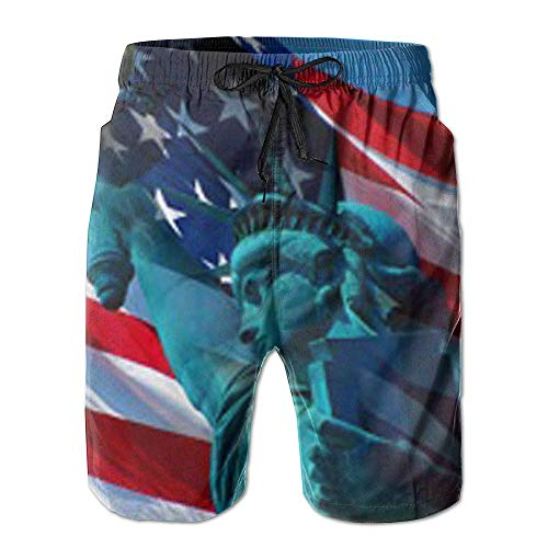 OQUYCZ American Flag Day Statue of Liberty Men's Quick Dry Beach Board Shorts Summer Swim Trunks for Father's Day for Boy Swimming M