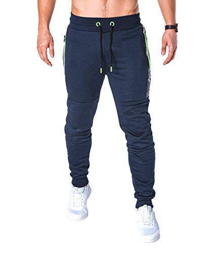 BetterStylz Herren Jogginghose SlvrCatBZ Sportswear Tech Fleece Jogger Design (XX-Large, Dunkel Blau/Grün) - Fleece Reißverschluss Jogger