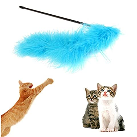uhoMEy 1X Kitten Pet Colorful Feather Interactive Stick Toy Wire Wand 52CM