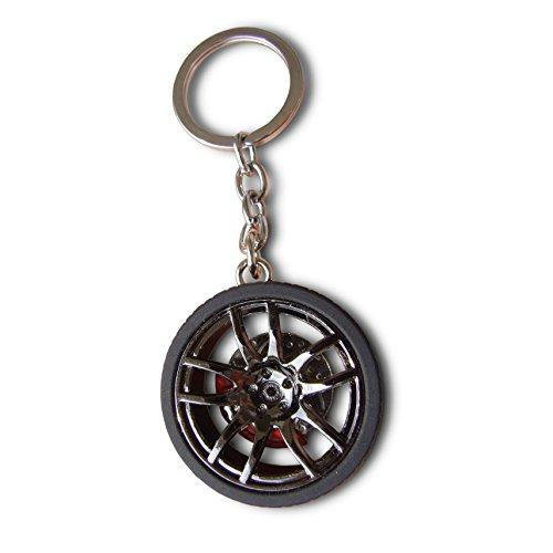 LivelyBuy Llavero de rueda de coche con disco de freno y llavero en miniatura para decoración de moda