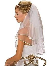 """Kolylong Voile De Mariage Nouveau Mariage 2t Blanc Nuptiale Elbow Satin Bord Veil Avec Peigne 80cm/31.5"""""""