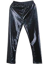 98fa76ba86d92 Gyratedream Leggings Fille Collants de Danse Métallique Cuir Faux Pantalon  pour 2-10 Ans Enfants