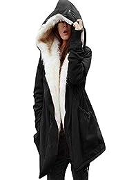 73aa84023841d ZEZKT Blouson Femme Manteau à Capuche Gilet avec Poche Outwear Grande  Taille Cardigan en Fausse Fourrure Veste Manches Longues…