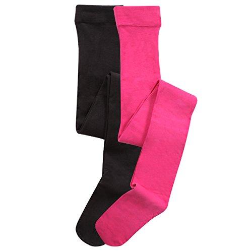 C&C Mädchen Strumpfhosen,2 Pack,122/128,schwarz/pink