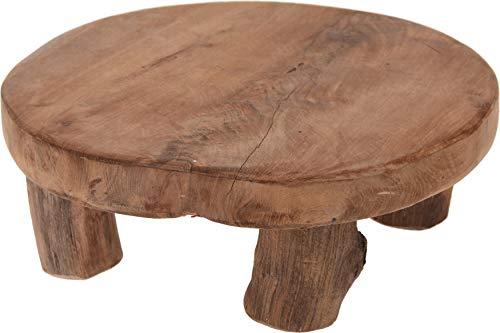 Teak-Tisch mini Teakholz Holz-Tischchen Blumenständer Etagere Pflanzenhocker 20 x 7 cm