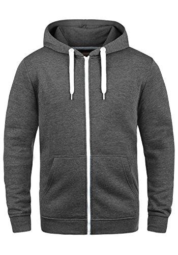 SOLID Olli Herren Sweatjacke Kapuzen-Jacke Zip-Hoodie aus hochwertiger Baumwollmischung, Größe:XL, Farbe:Med Grey (8254)